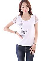 Women's Print White T-shirt,Round Neck Short Sleeve