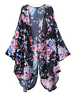 Women's Casual/Daily Simple Jackets,Print Round Neck ¾ Sleeve Black Polyester