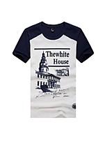 Tee-Shirt Pour des hommes Lettre Décontracté Manches Courtes Coton Bleu / Marron / Rouge