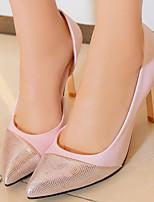 Zapatos de mujer-Tacón Stiletto-Tacones / Puntiagudos / Punta Cubierta-Tacones-Vestido-Semicuero-Negro / Rosa / Plata