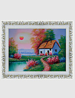 Hand-Painted Landscape / Floral/BotanicalEuropean Style One Panel Canvas Oil Painting For Home Decoration
