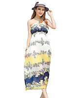 Women's Sexy Print Swing Dress,Strapless Maxi Polyester