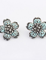 2016 New Vintage Women Super Flash Rhinestone Ear Studs Retro Punk Five Leaf Flower Pierced Earrings