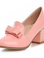 Zapatos de mujer-Tacón Robusto-Tacones-Tacones-Exterior / Oficina y Trabajo / Vestido-Semicuero-Negro / Azul / Rosa / Blanco