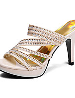 Women's Shoes Customized Materials Stiletto Heel Heels Sandals Wedding / Party & Evening /Casual Black / Gold