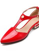 Zapatos de mujer-Tacón Robusto-Tacones-Tacones-Exterior / Oficina y Trabajo / Casual-Semicuero-Negro / Rojo / Blanco