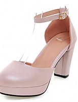Women's Shoes Leatherette Chunky Heel Heels Heels Office & Career / Party & Evening / Dress Blue / Pink / White / Beige