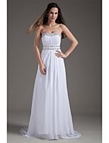 Sheath/Column Wedding Dress-Sweep/Brush Train Strapless Chiffon