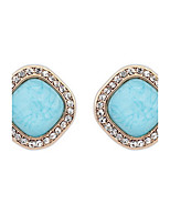 Women Fashion White Rhinestone and Candy Color Square Pierced Stud Earrings