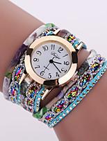 Lady's Flower Leather Band Analog Quartz Bracelet Wrist  Watch for Party