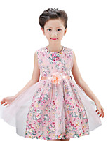 Girl's Casual/Daily Print Dress,Cotton / Polyester Summer / Spring Pink / White
