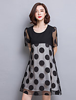 Women's Plus Size Simple Sheath Dress,Polka Dot Shirt Collar Above Knee Short Sleeve Black Polyester Summer