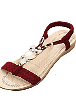Women's Shoes PU Flat Heel Slingback Sandals Outdoor / Casual Black / Pink / White