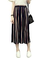 Women's Striped Blue / White / Black Skirts,Casual / Day / Street chic Midi