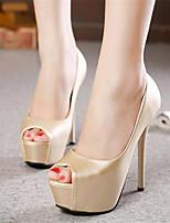 Women's Shoes Leatherette Stiletto Heel Heels / Peep Toe Heels Wedding / Party & Evening Black / Silver / Gold