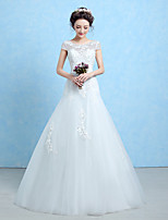 Trumpet/Mermaid Wedding Dress-White Floor-length Scoop Lace / Tulle / Sequined