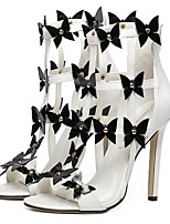 Women's Shoes Leatherette Summer Heels Party & Evening Stiletto Heel Zipper / Flower White