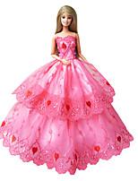 Poupée Barbie-Multicolore-Princesse-Robes- enSatin / Dentelle
