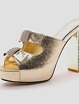 Women's Shoes Synthetic Chunky Heel Peep Toe/Slippers Sandals / Slippers Office & Career/Dress/Casual Silver/Gold