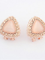 Vintage Jewelry Full White Rhinestone Stud Earrings Women's / Couples' / Unisex Alloy Pink Opal Triangle Earrings