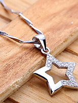Korean Fashion Real 925 Silver Star Shaped Necklace for Women Wedding Anniversary