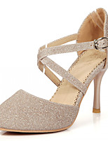 Zapatos de mujer-Tacón Stiletto-Tacones-Tacones-Oficina y Trabajo / Vestido / Fiesta y Noche-Semicuero-Azul / Plata / Oro