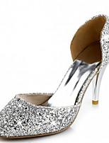 Calçados Femininos-Saltos-Saltos-Salto Agulha-Vermelho / Prateado / Dourado-Courino-Casamento / Escritório & Trabalho / Social