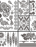 7PCS Black Temporary Tattoo 2016 New Women Men Body Back Art Tattoo Sticker Sexy Flower Totem