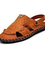 Sapatos Masculinos-Sandálias / Chinelos-Marrom-Napa Leather-Ar-Livre / Escritório & Trabalho / Social / Casual / Para Esporte