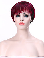Capless Wine Red  Short Straight  Synthetic Hair Wig Woman's  Full  Wigs Suit for Party