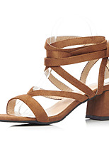 Women's Sandals Spring Summer Fall Ankle Strap PU Office & Career Dress Party & Evening Chunky Heel Block Heel Lace-up Black Brown