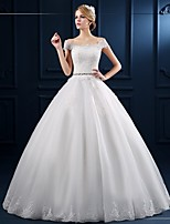 Ball Gown Wedding Dress Floor-length Off-the-shoulder Tulle with Appliques