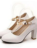 Scarpe Donna-Scarpe col tacco-Ufficio e lavoro / Formale-Tacchi-Quadrato-Finta pelle-Nero / Rosa / Bianco