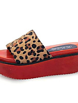 Women's Shoes Fleece Platform Creepers Sandals / Slippers Outdoor / Casual Black / Blue / Red / Leopard