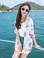 Women's Beach Boho / Street chic Summer Shirt,Print Shirt Collar ½ Length Sleeve Pink / Black Rayon / Polyester Thin