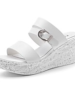 Women's Shoes Synthetic Wedge Heel Slippers Slippers Office & Career / Dress / Casual White / Silver