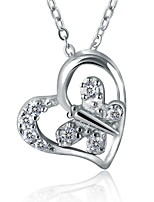 Romantic Real 925 Sterling Silver Love Heart Butterfly Pendant Necklace Heart-shaped Rhinestone Women Nice Jewelry