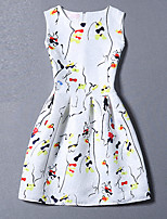 Women's Cute Print A Line Dress,Round Neck Mini Polyester