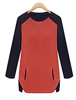 Women's Color Block Blue / White / Orange Blouse,Round Neck Long Sleeve