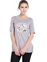 Haoduoyi Women's Round Neck Short Sleeve T Shirt Gray-16113H604