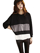 Women's Patchwork Black Blouse,Round Neck Long Sleeve
