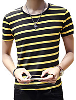 Summer Casual Men's Round Neck Short Sleeve Fashion Striped Cotton Blend Slim T-Shirt Tops