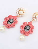Super Retro Black Red Rose Flower and Perfectly Round Imitation Pearl Stud Earrings for Vintage Women