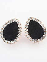 Lots Colors Elegant Women Alloy Jewelry Drops Water Shaped Stud Earrings Full Rhinestone Leopard Grain Earrings