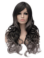 Gray Gradient Ringlet Cosplay Hair Synthetic Wig