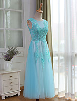 Cocktail Party Dress A-line Jewel Tea-length Lace / Tulle with Beading / Lace