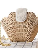 Women Straw Shell Shoulder Bag-Beige