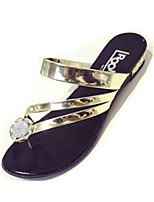 Women's Shoes PU Flat Heel Slippers Sandals / Slippers Outdoor / Dress / Casual Black / Silver / Gold