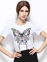 Zishangbaili® Women's Round Neck Short Sleeve Shirt & Blouse White-TX1506