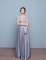 Formal Evening Dress-Silver A-line Scoop Floor-length Lace / Satin / Stretch Satin